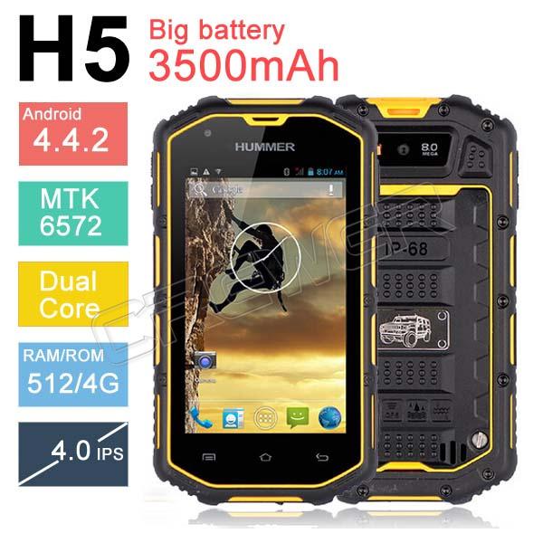 "Hummer H5 3G Waterproof Phone 4.0"" Capacitive Screen IP68 Waterproof Shockproof Dustproof 3500Mah battery GPS WCDMA Cell Phone(China (Mainland))"