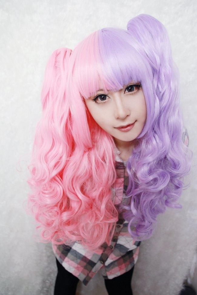 Great Bargain Free Shipping 70cm Anime Cosplay Girls Ponytails Lolita Wig Half Mixed(China (Mainland))