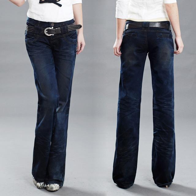Бесплатная Доставка женщин тонкий деним широкие брюки ноги джинсы брюки девушки большой ...