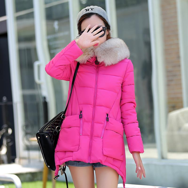 Warm Winter Jacket Women 2015 Solid Thick Fur Collar Parka Long Hooded Womens Jackets Coats Manteau Femme Coat