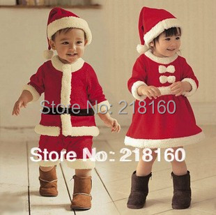 High Quality 2-4Years Girl Boy Santa Suit Novelty Costume Baby Christmas Clothing Sets Free Shipping(China (Mainland))