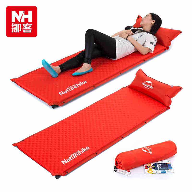 Automatical Spring Spinning Moisture Pad Camping Air Mattresses High Resilience Foam Inflatable Mattress With Pillow Splicing(China (Mainland))
