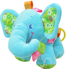 New Animal Elephant in pink Soft Plush Crib Bed Car Hanging Hand Rattles Baby Toys Girl Boy Gift Toys(China (Mainland))