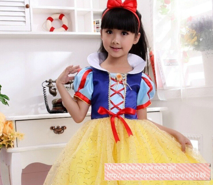 snow white snow queen costume kids baby big teen toddler little girls christmas party outfits tutu tulle princess dress(China (Mainland))