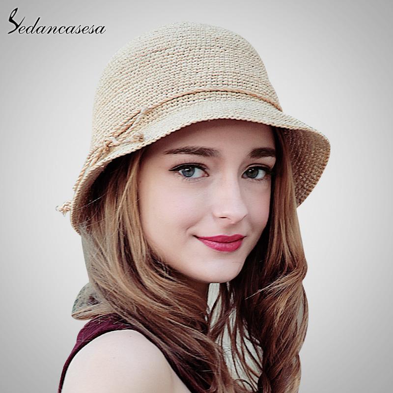 Sedancasesa Fashion Women Raffia Straw Hat Crochet Hats Summer Wide