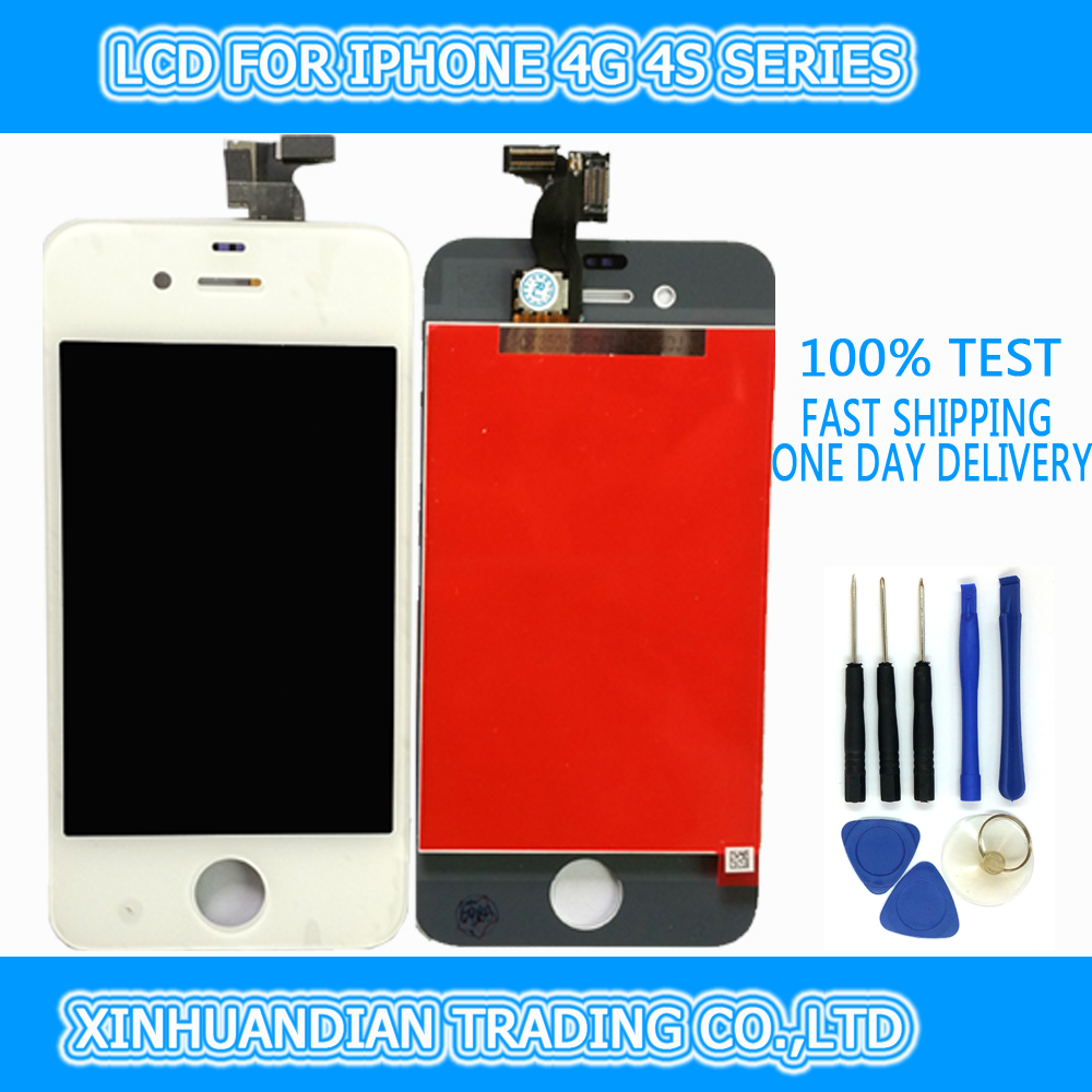 2 PCS/LOT 100% TESTED GRADE AAA For IPHONE4S 4G LCD LCD Display Touch Screen Digitizer Assembly WHITE(China (Mainland))