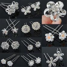 20 PCS Fashion Clear Crystal Rhinestone Pearl Flower Bridal Wedding Prom Party Hair Pins Women Jewelry(China (Mainland))