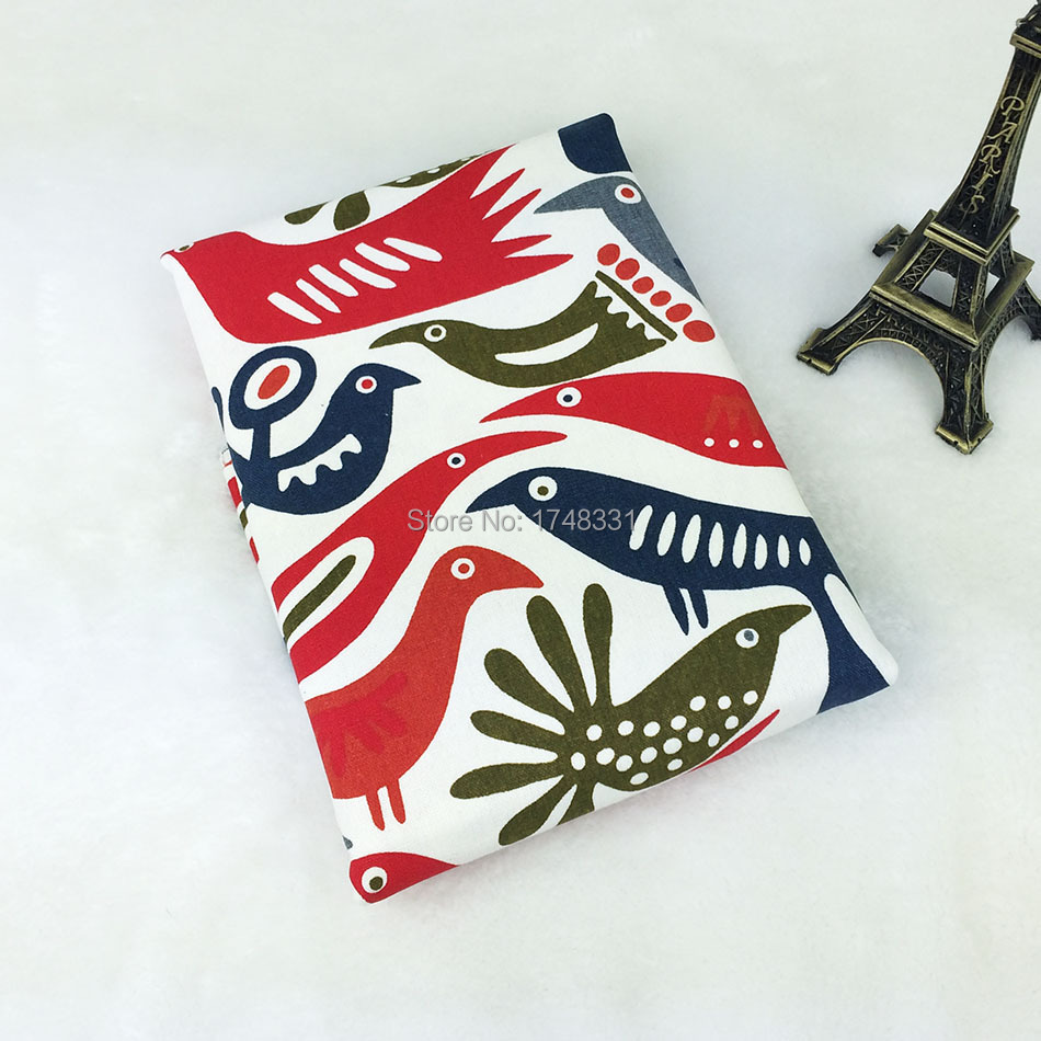 Freeshipping 1 Pieces 150x50cm red series bird cotton patchwork fabric sewing Tilda Cloth(China (Mainland))