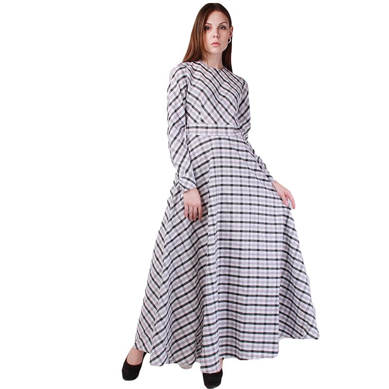Long dress lady 2015 spring women a line plaid dress round neck long