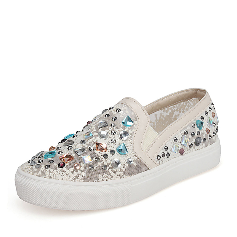 2016 summer casual shoes flat with rhinestone white shoe