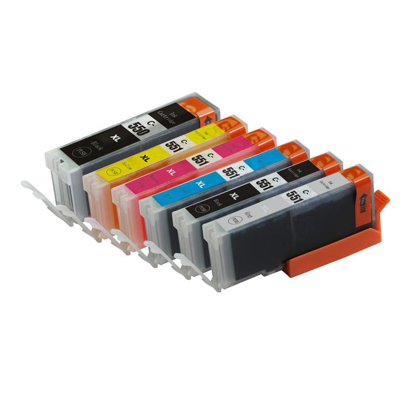 Full ink 6 PCS  ink Cartridge For Canon PGI-550 PGI550 CLI-551 XL for Canon Pixma MX925 MX725 MG5450 MG5550 MG6350 MG6450 IP7250