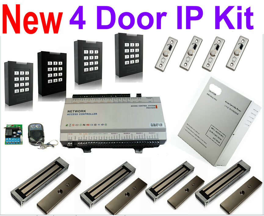 4 Door Keypad Password+ID Card Panel Kits+4 pcs Keypad/ID card readers+UPS Power supply+4Magnetic lock+4 exit button+Web IP(China (Mainland))