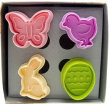 Free Shipping Fondant Cookies Baking Biscuit Pastry Decorating Mold Tool shaped Easter Chicken/Rabbit/Butterfly/Eggs Mould03074(China (Mainland))