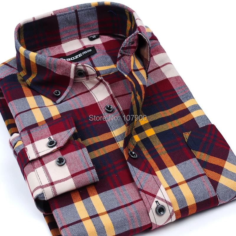 2015 Flannel Men Plaid Shirts Luxury Slim Long Sleeve Brand Formal Business Fashion Dress Warm Shirts for Spring Autumn
