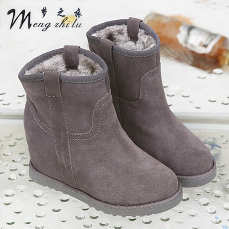 2015 women's winter snow boots waterproof boots thermal short cotton-padded shoes scrub genuine leather wool elevator snow boots