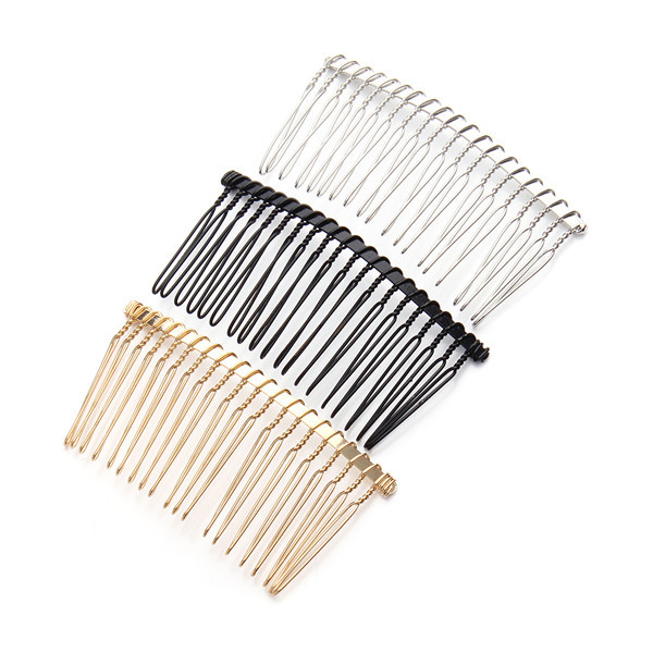6pcs/lot 3.6cm*7.5cm 20Teeth Black /Gold /Rhodium Metal Hair Combs Wedding Bride Clips Headpiece Hair Sticks Accessories F1573C(China (Mainland))