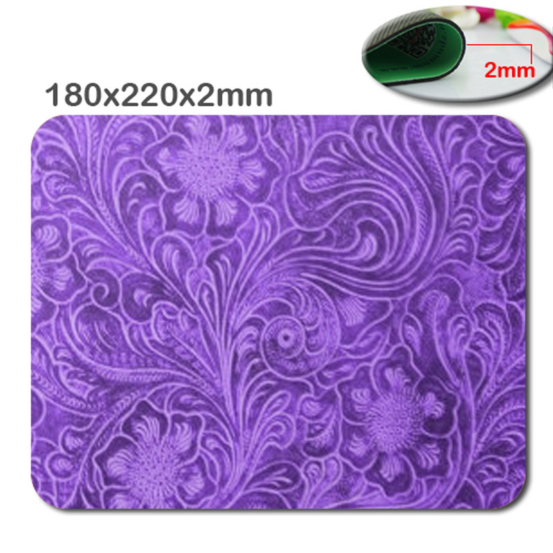 Custom 180 x220x2mm Elegant Purple Leather Look Floral Embossed Design Mouse Pad - Stylish, durable office accessory and gift(China (Mainland))