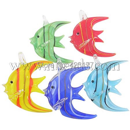 Handmade Lampwork Pendants, Tropical Fish, Mixed Color, about 42mm wide, 45mm long, hole: 6mm(China (Mainland))