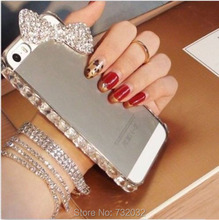 Luxury 3D Bling Rhinestone Bow Phone Case for iPhone 4 5C 5 SE 6 Plus Cover for Samsung A7 A8 S3 S4 S5 mini S6 S7 Note 2 3 4 5(China (Mainland))