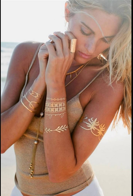 Gold Body Stickers 35 Pcs Body Art Painting Gold