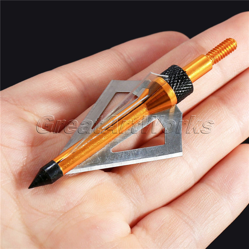 6 Pcs 100grain Bow and Crossbow Arrow Stainless Steel Broadhead Hunting Broadheads(China (Mainland))