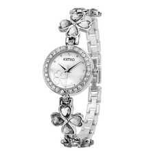 KIMIO Women Crystal Watch Elegant Crystal Watch for Lady Dress Watches Lucky Four leaf Clover Design