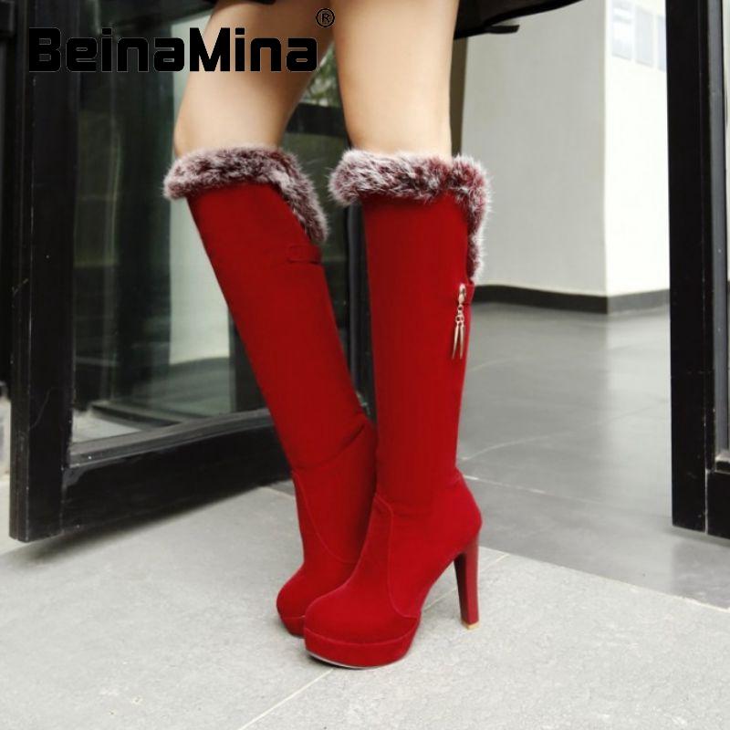 women over knee boots high heel riding platform fashion long boot fur warm winter quality footwear heels shoes P22186 size 33-43<br><br>Aliexpress