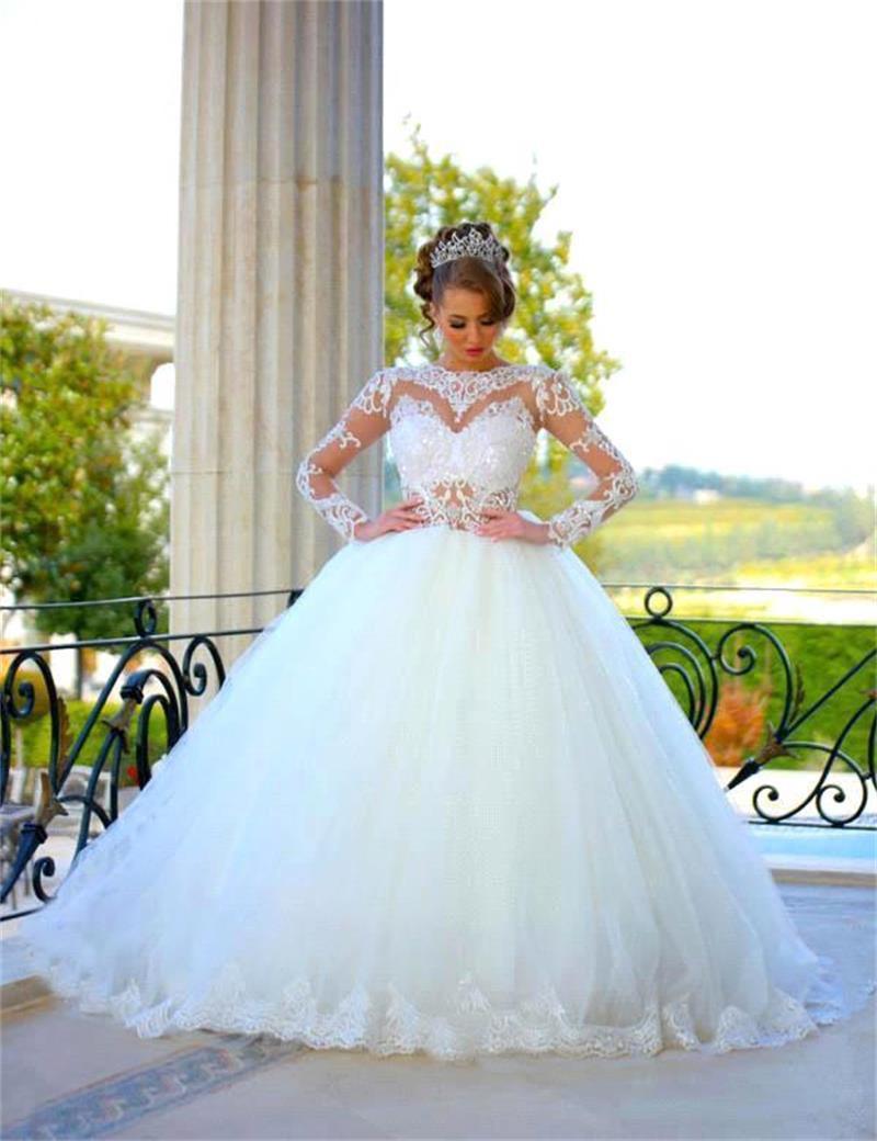 Vestido de noiva princess long sleeve white wedding dress for Long sleeve princess wedding dresses