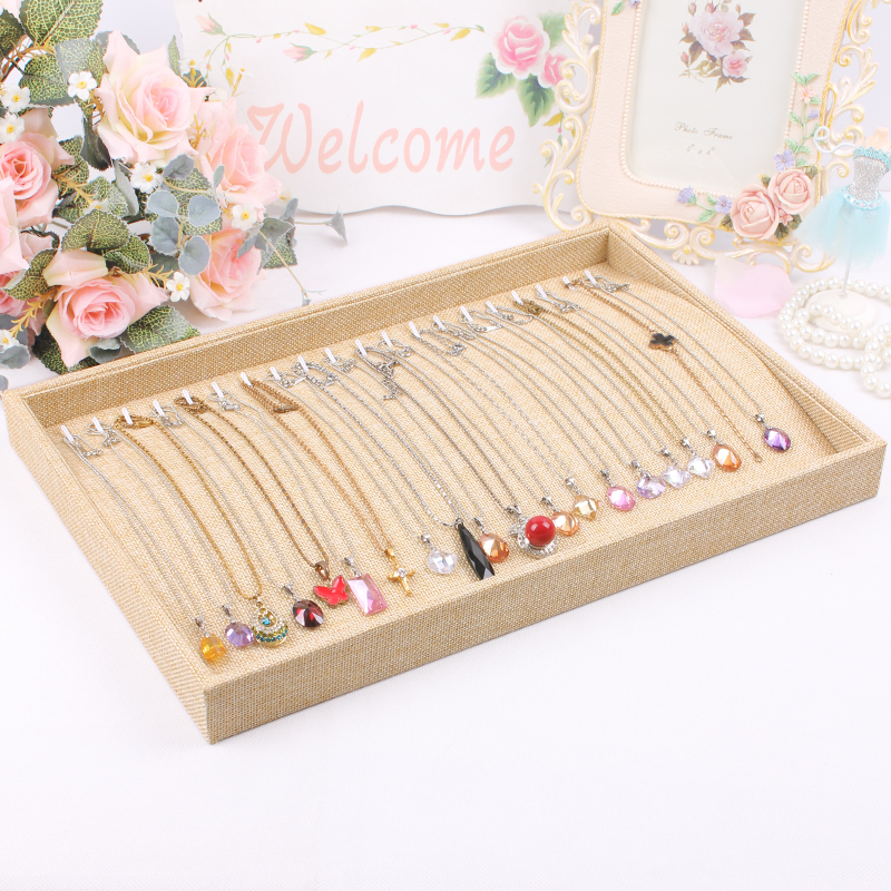 Whole sale Organizer Show Case Jewelry Display necklace Holder Box New linen necklace Storage diamond Display Box Necklace case(China (Mainland))