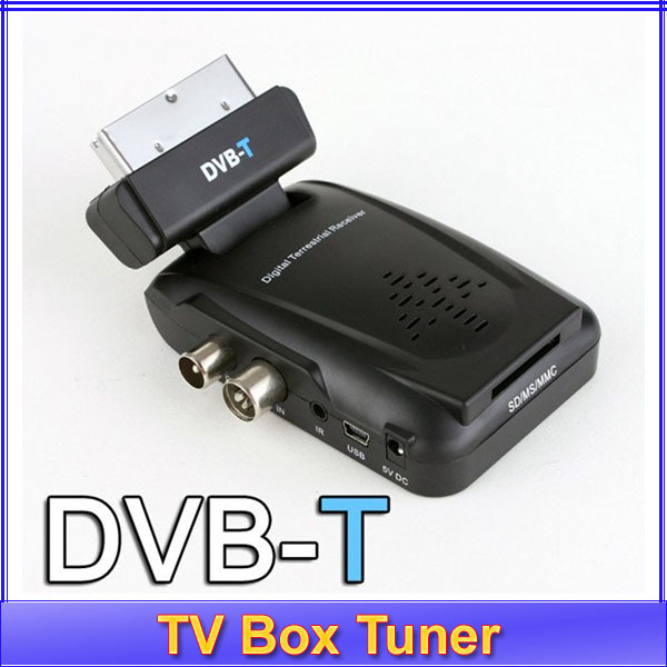 Free shipping+Digital Scart TV Box Tuner DVB-T Mini Freeview Receiver support MPEG-2(China (Mainland))