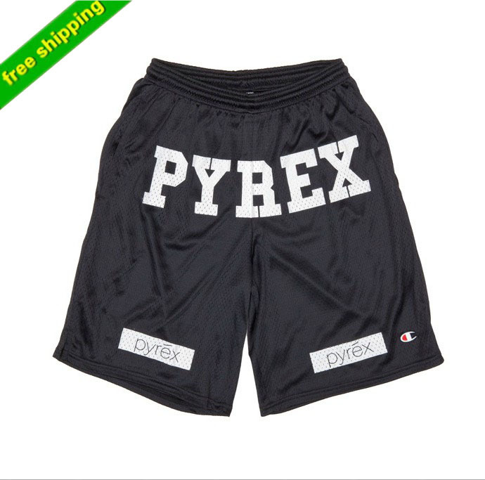 Free Shipping Best Version Pyrex Shorts gym Kayne West hip-pop Style Fashion Mid Loose Drawstring Embroidery LOGO Shorts For Men(China (Mainland))
