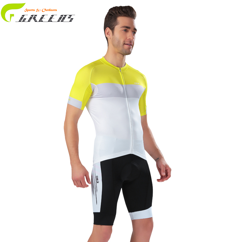 Cycling MTB Short Sleeves Jersey Bicycle Sets Shirts Padded Cycling jersey Clothes Cycling short sleeve jersey for men yellow(China (Mainland))