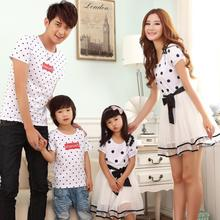 Family clothes cotton Tshirt+mesh bottom One-Piece dress for mother and daughter clothes for father and son PRO988W