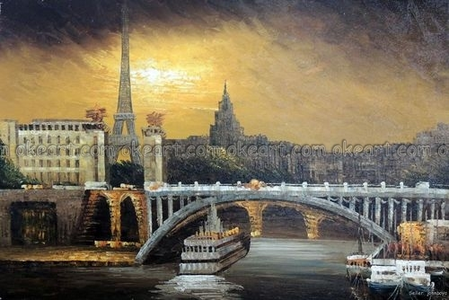 100% hand painted Paris River Seine Boats Eiffel Tower Bridge France decoration Oil Painting free shipping High quality