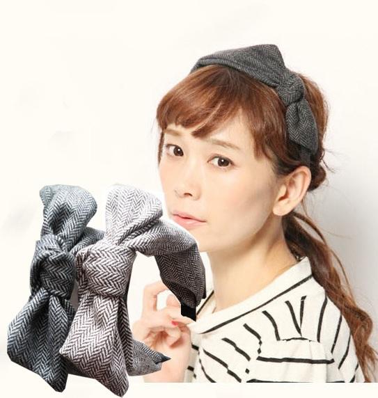 2015 New Cotton Plaid Stripe Design Bow Handmade Japan Style Fashion Metal Headband Hairbands
