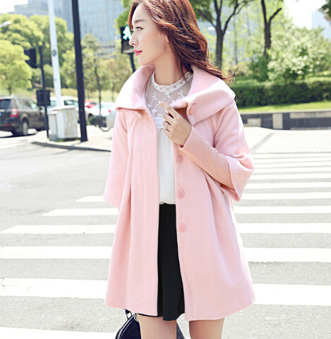 plus size shawl style wool blend jackets female autumn winter medium-long sections fashion special design woolen coats S1208(China (Mainland))