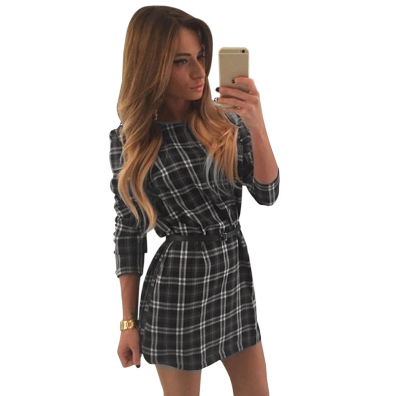2016 Women Casual Plaid Dresses Long Sleeve Cotton font b Tartan b font Blouse Shirt Mini