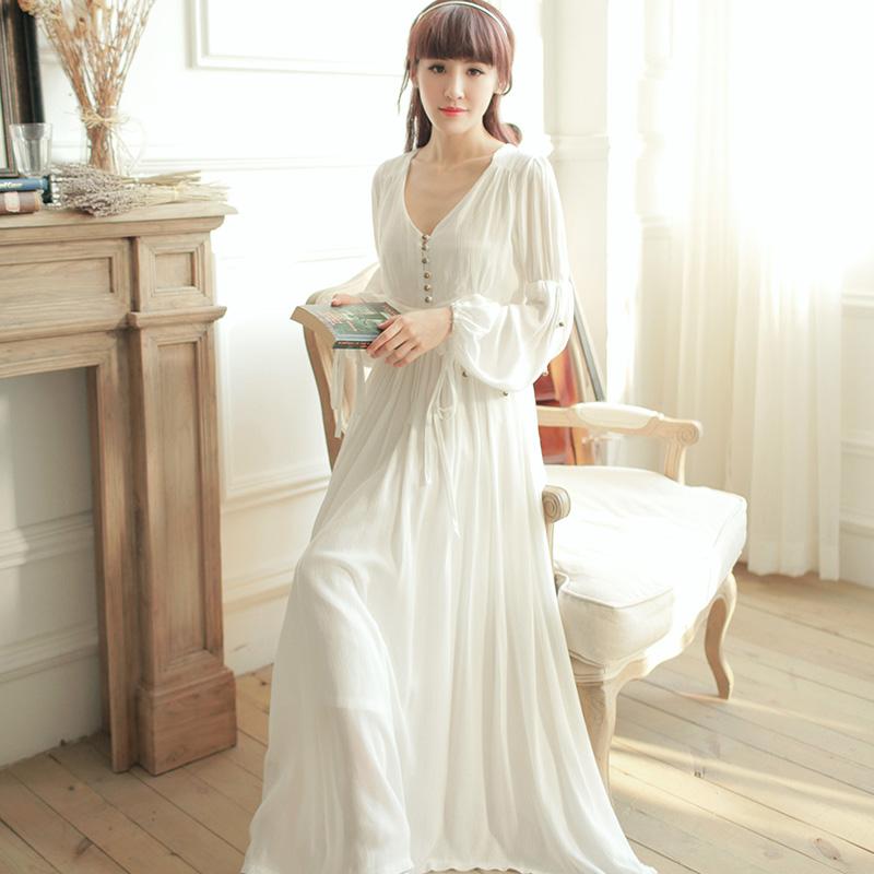 Hot Sale!High Waist Vintage Sleepwear Royal Princess Nightgown White one-piece Nightdress,Ankle-Length Beading Full Vestidos(China (Mainland))