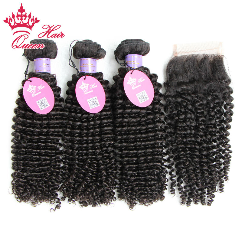 Queen Hair Malaysian Virgin Hair Weft Kinky Curly 3pcs Human Hair Weave Bundles with 1pcs Lace Closure ,4pcs/Lot DHL Free<br><br>Aliexpress