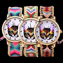 Mujeres étnico cuerda tejida cadena de oro pulsera de la venda gato Dial cuarzo reloj de pulsera