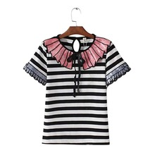 JN01 European Fashion 2016 Vintage Summer Paillette Bow Striped T-shirt For Women O-Neck Casual Short Sleeve Brand Tops Tee(China (Mainland))