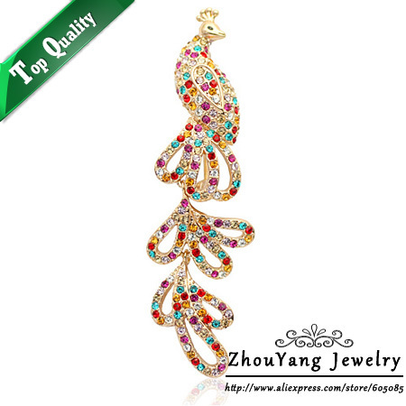 ZHOUYANG ZYX008 Elegant Colorful Phoenix  Champagne Gold Plated Fire Bird  Brooches Jewelry Austrian Crystal  Wholesale