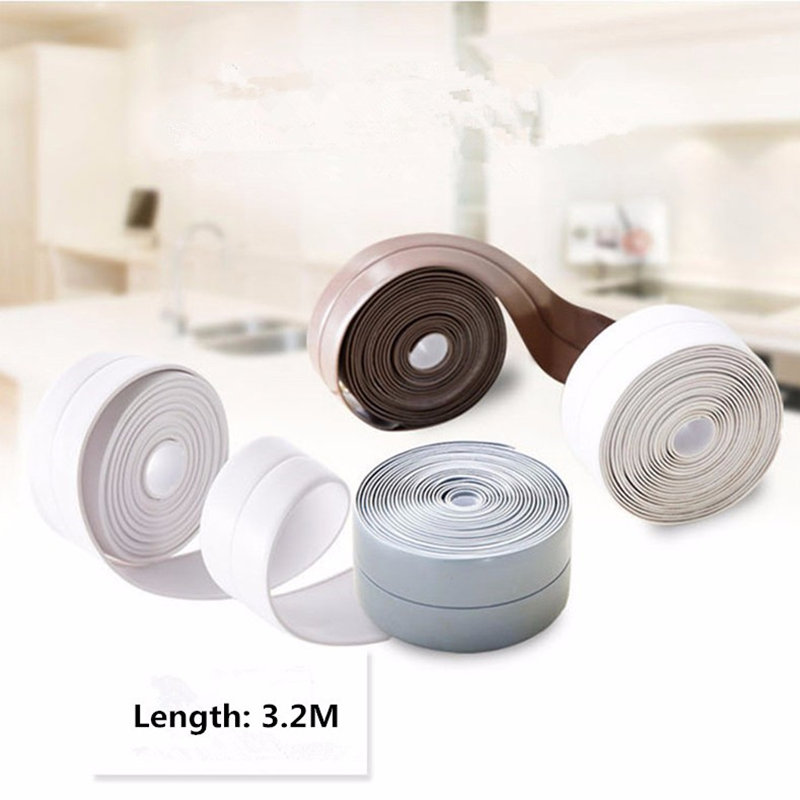 Mildew Waterproof Tape Corner Seams Bathroom Toilet Sealing Strip Stove Seal Protectors Sink Slit Wallpaper Kitchen Gadgets !(China (Mainland))