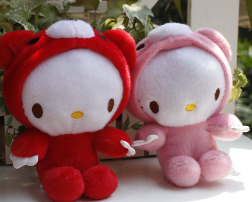 IN STOCK SET OF 2 PCS HELLO KITTY DRESS UP WITH GLOOMY BEAR Plush TOY DOLL(China (Mainland))