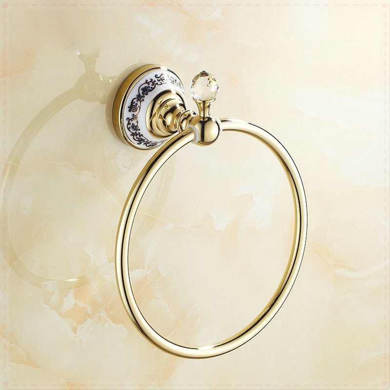 Crystal Deco Wall Mounted Bath Towel Ring Gold Finish touch faucet washing machine(China (Mainland))