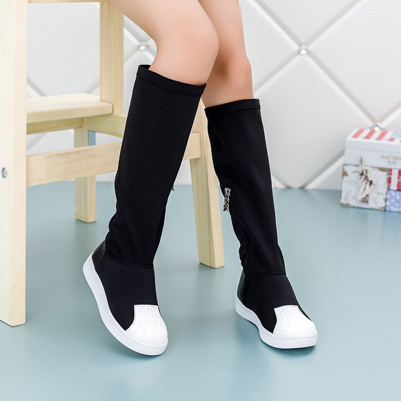 Child Boots For Girls Fashion Jackboots Kids Baby Knee Boots Shoes Shell Head Autumn Lycra Stretch Fabric Children Single Sheos(China (Mainland))