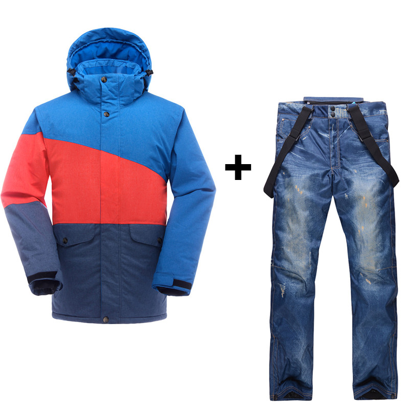 Free Shipping 2016 Newest Fashion Men Ski Jacket +Snowboard Jeans Pant Waterproof 10K Winter Thicken Warm Outdoor Sports Suit(China (Mainland))