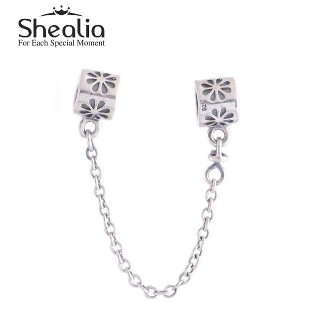 Аутентичные стерлингового серебра 925 страховочную с цветами бусины DIY SHEALIA ювелирные известный бренд подвески браслеты DIY SF202