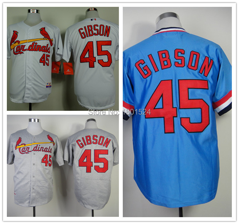 Free Shipping St .louis Cardinals 45 Bob Gibson Men's Beige/Blue/Grey Embroidered Logos, Authentic ,Hot Sale ,Size M-XXXL(China (Mainland))