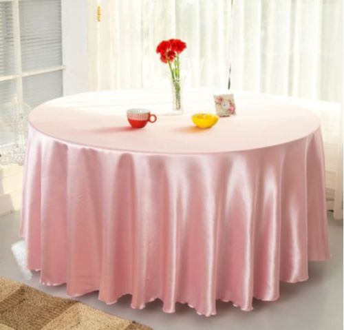 10pcs Light pink 120 Inch Round Satin Tablecloths Table Cover for Wedding Party Restaurant Banquet Decorations(China (Mainland))